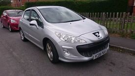 SILVER PEUGEOT 308 5 DOOR 2008, 53000 GENUINE MILES. 1 PREVIOUS LADY OWNER NO MOT HENCE LOW PRICE