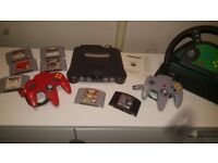 Nintendo 64 Games Console With 2 Controllers Games And Steering Wheel N64 Collectable Rare