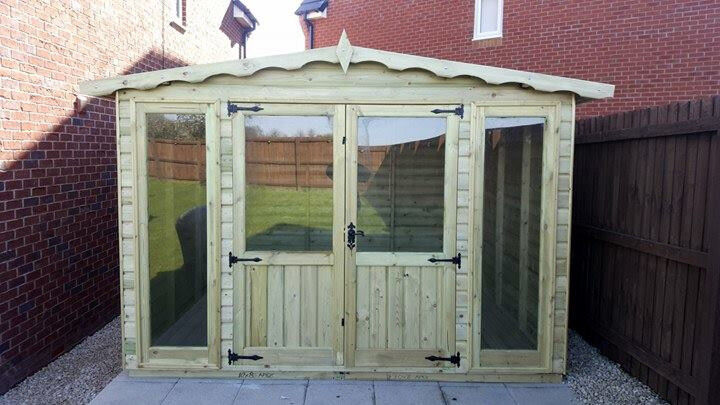 10x8 Summer House Apex Contemporary Summehouse Shed Cabin T&G 16mm Top Quality