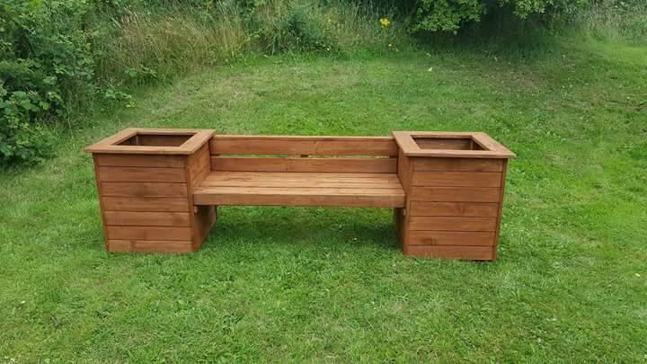 Wooden Garden Bench with Box Planters | in Durham, County Durham ...