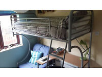 Bunk bed with mattress, built in desk, office chair, pull out futon bed