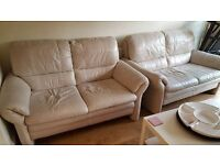 SCS REAL LEATHER CREAM 2 X 2 SOFAS CAN DELIVER FREE