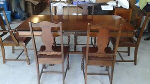 Antique, 8 piece solid wood dining set