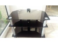 BLACK GLASS TELEVISION STAND TV SHELF 3 TIER
