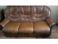 3 seater sofa and 2 chairs, brown leather