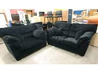 velvet style 2 Seater Sofa With Cuddle Chair - Delivery Available