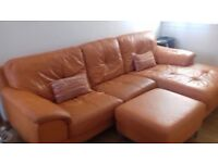 Leather L shape sofa with separate footstool