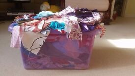 HUGE tub of fabric odds and ends, great for Christmas crafting, silks, cottons, patterns, sparkles