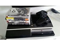 PS3 Playstation + 4 games + 1 pad + Driving Force EX wheel & pedals