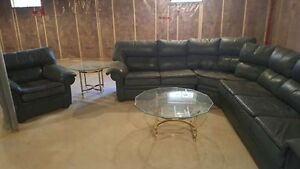 Genuine Leather Large Sectional & Chair $200 OBO