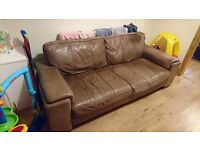 Large Brown Sofa 2 seater