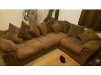DFS Sofa Set (Corner Sofa, Large Swivel Cuddle Chair, Storage Footstool)