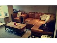 Fabulous brown leather corner group sofa / settee with matching armchair and footstool / pouffe