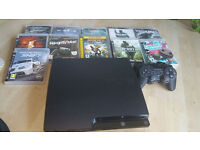PS3 Slim 250gb 10 games 2 wireless controllers