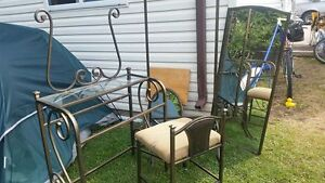 3 peice vanity set with two mirrors, table and chair