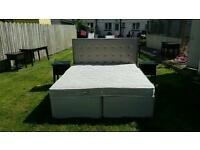 Super kingsize bed with leather headboard + 2 bedside lockers £135 delivered
