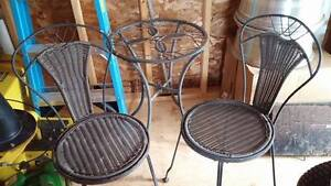 Cast Iron Glass Table & 2 Cast Iron Wicker Chairs