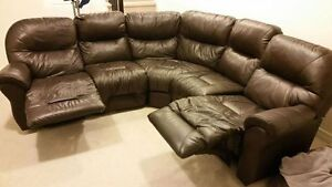 Beautiful 5 piece dark brown leather sectional for sale.