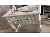 Troll bedside crib inc. mobile, mattress and sheets. Barely used