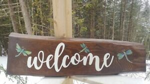 Hand painted dragonfly welcome sign