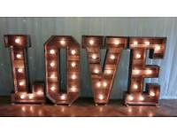 Rustic Love lights & Rustic MR&MRS lights for hire