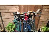 Various Golf Clubs, bags and loads of balls. Drivers, irons, Putter, etc.
