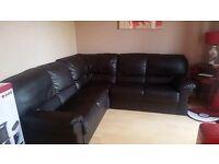 Corner dark brown leather sofa
