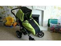 3 in 1 green and black pram