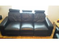 Leather 3 seater sofa, recliner