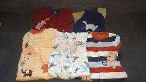 Size 12 months Pekkle footed PJs - 5 pairs