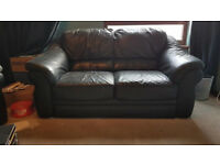2 two seater leather couches