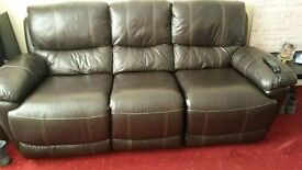 Brown leather recliner 3 & 2 seater