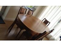 Nathan solid wood extending dining table and 6 chairs