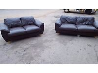 3&2 seater brown leather sofa