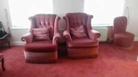 Pink velvet effect sofa and two arm chairs