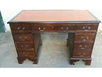 Leather top twin pedestal desk- project to do