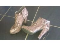 Lovely leather low boots size 3- Italian make in snake skin pattern. Worn once