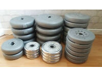 30 Weight plates (steel and vinyl) and 4 spinlock dumbell bars