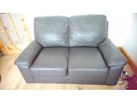 Brown Leather Sofa, used, in good condition. Collection only. Thamesmead. £50