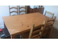 pine dinning table and 6 chairs good condition only £40.00