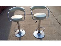 2 leather and chrome bar stools