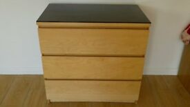 IKEA MALM CHEST OF 3 DRAWERS & GLASS TOP