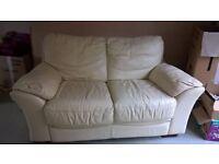 Cream Leather 2 seater sofa £30