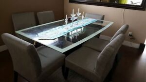 6-Seat Glass Dining with Fabric Seats