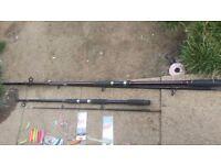sea fishing rods, weights, lures single rod holder, sandeel net