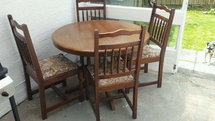Vintage Antique Shabby Chic Extendable Dinning Table 4 Chairs In Gree