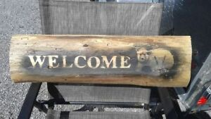 Rustic wooden WELCOME bear sign
