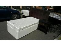 Single bed with large leather headboard + 2 bedside lockers £100 delivered