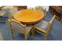 Wooden extending dining table + chairs