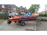 Ribcraft 4.8m boat with 60hp Mariner bigfoot 2 stroke outboard 2005